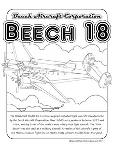 Airport Coloring Book Beech 18 for coloring