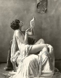 Pearls plus lots of drapey fabric Ziegfeld Model - Risque - 1920s - by Alfred Cheney Johnston