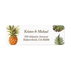 Tropical Leaves Pineapple Decor Luau Wedding Label
