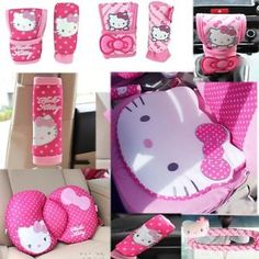 Hello Kitty Styling Car Accessories Car Interior Gears Covers safe belt CD cover Waist cushion car Rearview mirror car cushion * Pub Date: Feb 16 2017 Car Accessories For Guys, Interior Accessories, Hello Kitty Car, Car Steering Wheel Cover, Car Rear View Mirror, Cd Cover, Settee, Diy For Girls, Cushions