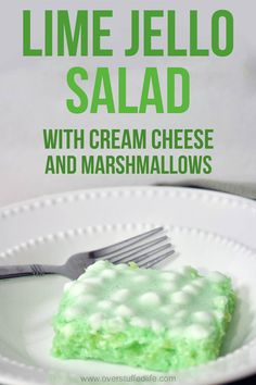 Recipe for green jello salad. Contains lime jello, cream cheese, marshmallows, and crushed pineapple This lime jello salad recipe is easy to make and good to eat. The green jello is combined with marshmallows and cream cheese to make it extra good to eat! Green Jello Salad, Jello Fruit Salads, Dessert Salads, Fruit Salad Recipes, Fruit Dishes, Orange Jello Salads, Jello With Fruit, Pineapple Jello, Lemon Jello