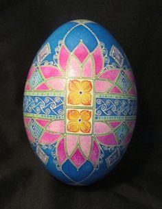 rhea egg pisanki/pysanky  batik egg by MarkMalachowski on Etsy, $100.00