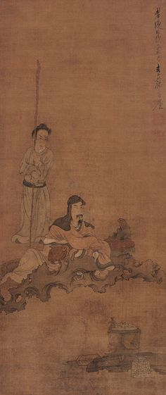 Tasting Tea Chen Hongshou (陳洪綬, 1599-1652), Ming Dynasty (1368-1644) Hanging scroll, ink and colors on silk, 102.5 x 44 cm