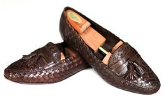 Bragano Cole Haan Brown Woven Leather Italian Tassel Loafers Size 12M #Bragano #LoafersSlipOns