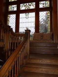 Window seat on the stairs between floors inside the home of Barry Dixon : Paula Grace Designs Victorian Interiors, Victorian Homes, Victorian Stairs, Second Empire, Staircase Design, Staircase Landing, Wood Staircase, Spiral Staircases, Home And Deco