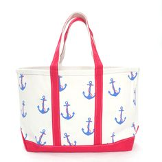 #thinkwarm #tuckernuck  Anchor Canvas Tote Made of heavy duty canvas with double layers on the handles and bottom for reinforcement, the Crabberrie bags are printed with whimsical designs in vibrant colorways. Our latest obsession for toting gym clothes, beach towels, and travel gear, this anchor patterned bag works year round.