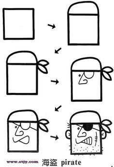How to draw a pirate's face SEPTEMBER 19 talk like a pirate day. Doodle Drawings, Cartoon Drawings, Cartoon Art, Easy Drawings, Doodle Art, Pirate Cartoon, Drawing Lessons For Kids, Art Lessons, Drawing Ideas