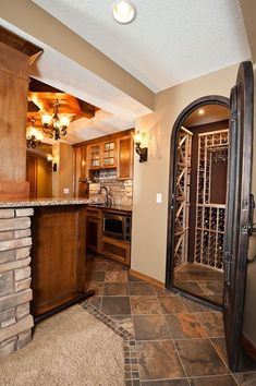 Basement bar and wine cellar.love the floor! Basement Kitchen, Basement Bars, Basement Ideas, Basement Ceiling Options, Porch Decorating, Decorating Ideas, Decor Ideas, Commercial Interiors, Home Projects