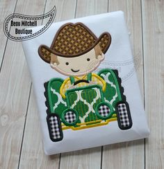Farm boy tractor applique embroidery design by BeauMitchellBoutique on Etsy https://www.etsy.com/listing/208404678/farm-boy-tractor-applique-embroidery