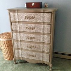 DIY Lace Painted Bedroom Set - I just LoVe this!!