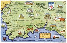 Postcard Map Of South Devon Travel Infographic Map Jersey Channel Islands