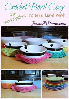Cute Crochet Patterns Crochet Bowl Cozy free crochet pattern by Jessie At Home - Crochet bowl crazy? I have some really cool Crochet Bowl Cozies for you. Keep your pinkies pink from all those hot bowls. Crochet Bowl, Cute Crochet, Crochet Yarn, Ravelry Crochet, Cotton Crochet, Crochet Jar Covers, Crochet Mignon, Confection Au Crochet, Crochet Potholders