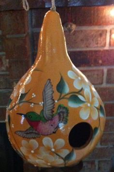 Handpainted Gourd Birdhouse With Hummingbird And by gourdartistIam, $29.95