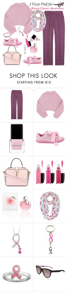 """Wear Pink for Breast Cancer Awareness"" by ellie366 ❤ liked on Polyvore featuring Miu Miu, Lala Berlin, Context, Puma, Dolce&Gabbana, MAC Cosmetics, Nina Ricci, Stacks and Stones, Oakley and CasualChic"