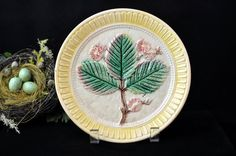 Hey, I found this really awesome Etsy listing at https://www.etsy.com/listing/266047372/beautiful-antique-majolica-leaf-plate