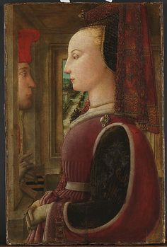 15TH CENTURY: Portrait of a Woman with a Man at a Casement