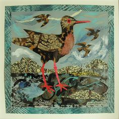 """""""Redshank"""" collage by Mark Hearld from the """"Spring Life"""" exhibition at Tinsmiths in Ledbury"""