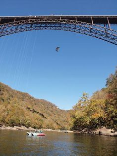 BASE jump, Rappel, and Rescue Boats at Bridge Day 2010 #bridgeday