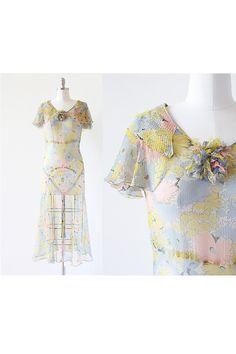 STUNNING Vintage 1920s to 1930s chiffon dress!