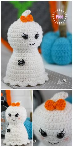 crochet stitches design Pretty Little Ghost Free Crochet Pattern By Lindsey - Halloween Amigurumi Little Ghost Plushie Free Crochet Pattern Crochet Pumpkin, Crochet Fall, Holiday Crochet, Crochet Gifts, Crochet Toys, Halloween Crochet Patterns, Crochet Amigurumi Free Patterns, Crochet Animal Patterns, Baby Knitting Patterns