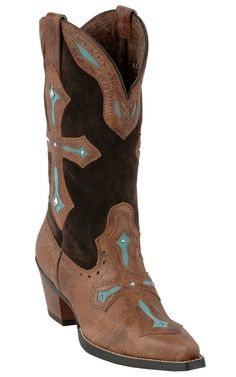 Ariat Heavenly Ladies Brown with Turquoise Inlayed Cross Snip Toe Cowboy Boots