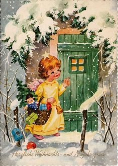 AK, CHRISTMAS, angels with Christmas tree and Basket full of packets knocking on the gate * - - Christmas Past, Retro Christmas, Vintage Christmas Cards, Christmas Greeting Cards, Christmas Pictures, Christmas Angels, Vintage Cards, Old Fashioned Christmas, Christmas Clipart