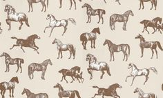 Collette (760-69) - Sandberg Wallpapers - A stunning horse motif design – with different breeds of horse drawn in a naturalistic etching style. Available in 4 colourways – shown in the dark brown on pale beige brown background. Please ask for a sample for true colour match.
