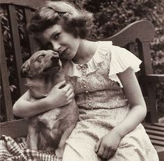 A young Queen Elizabeth II with her father's dog Jane