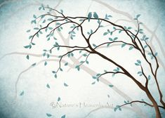 Romantic Love Bird Wall Art 5 x 7 Print, Nature Inspired Blue Home Decor, Tree Branches, Watercolor Tree Art (28) Soft blues bring a sense of peacefullness to this tree art. The artwork was originally done by me and the print was made using Epson premium presentation matte