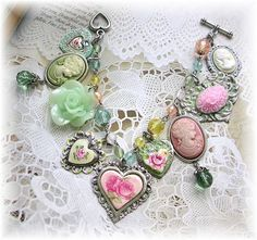 Vintage Victorian Style Heart Charm Bracelet by TheVintageHeart Flowers Roses Pink Mint Green Yellow Cameos <3