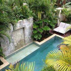 Pool and lush garden in Bali