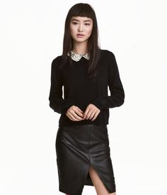 Sweater with Lace Collar | Black | Women | H&M US