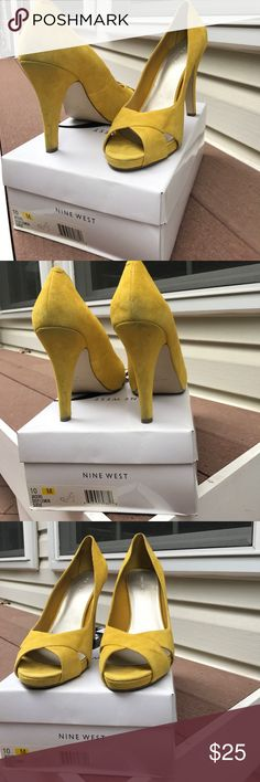 Suede Pumps Lemon colored suede pumps Nine West Shoes Heels