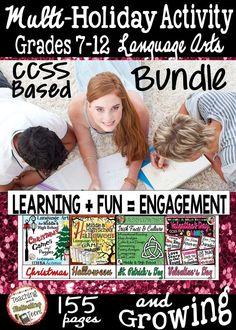 ELA Holiday Activities Growing Bundle - Middle & High School. Engaging, standards-based activities. Activities for Christmas, Valentine's Day, St. Patrick's Day, & Halloween. Learning with games is an effective scaffolding technique, which combines cognitive and affective teaching strategies, while addressing multiple intelligences and learning styles! However you choose to use them, your students will be having fun. Each game includes step-by-step directions for teachers. Use ag