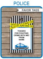 Police Party Favor Tags template