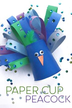 Enjoy making this stunningly simple peacock paper cup art and craft! Creative Activities For Kids, Crafts For Seniors, Craft Projects For Kids, Diy Crafts For Kids, Art For Kids, Work Activities, Summer Crafts, Easy Crafts, Art Projects