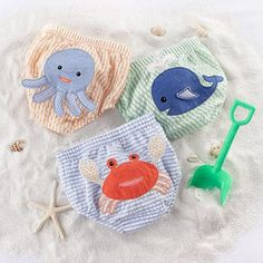 (CLICK IMAGE TWICE FOR DETAILS AND PRICING) andquotBeach Bumsandquot 3-Piece Diaper Cover Gift Set (6-12 Months). Pastel orange-and-white-striped diaper cover has a smiling blue octopus with 3D legs on the bum pastel blue-and-white-striped covers bum sports a friendly, orange crab with 3-D pincers on the pastel green-and-white-st.. . See More Gifts at a href=http://www.ourgreatshop.com/Gifts-C196.aspx  target=_blank rel=nofollowhttp://www.ourgreatshop.com/Gifts-C196.aspx/a
