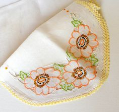Vintage White Linen Table Runner Hand Embroidered Floral Orange Yellow Green Black
