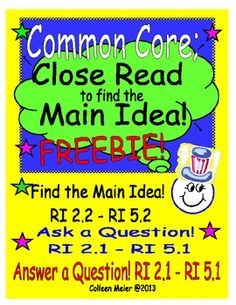 Close Read to get the Main Idea ~ FREEBIE! GREAT guided reading/close reading lesson for getting OBSERVED for grades 2- 5! Could be used with lower grades. I like to teach multiple skills when I have the chance ~ don't we all? This activity also helps build fluency, comprehension and close reading and writing skills ~ for students of all abilities! I made up this activity for an observation and to help my students find the main idea and ask and answer questions.