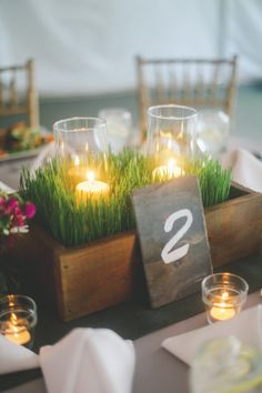 26 Refreshing Spring Wedding Centerpieces: a wooden box with wheatgrass and candles to feel the spring spirit Spring Wedding Centerpieces, Banquet Centerpieces, Wedding Arrangements, Reception Decorations, Spring Weddings, Dance Decorations, Floral Arrangements, Grass Centerpiece, Centerpiece Ideas