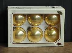 Vintage Gold Blown Glass Ornaments, Christmas by Krebs Christmas Tree Decorations, 2 1/2, Round Ball, Box of 6    Christmas by Krebs a premier