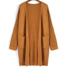 SheIn(sheinside) Yellow Long Sleeve Pockets Loose Cardigan (€21) ❤ liked on Polyvore featuring tops, cardigans, yellow, yellow top, yellow long sleeve top, yellow cardigan, loose fitting tops and embellished cardigan