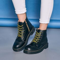 Brogue Zipper Lace Up Pure Color Flat Martin Boots - Gchoic.com #shoes #women #popular #fashion #discount #cheap #want Pinterest
