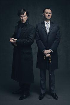SHERLOCK (BBC) ~ Benedict Cumberbatch & Mark Gatiss S4 promo photo