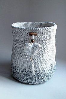 Košíky - Košík - bielo-sivý gombík srdiečko MAXI - 6279169_