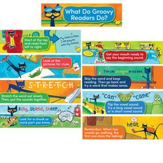Great visual guide for beginning readers! | Pete the Cat Reading Strategies Mini Bulletin Board from Edupress $6.99