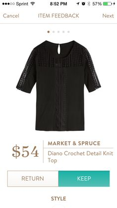Diano Crochet Detail Knit Top by Market & Spruce. This top is very soft and has a flattering fit without being tight or baggy. Like the crochet sleeves, top and center panel. Received in Fix #34. KEPT. Price $54.
