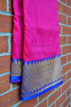Pink Raw Silk Saree with Blue Banarasi Brocade Border/Pallu/Blouse - Aliveni - 2