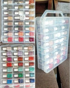 I bought this double-sided thread on and just as I suspected, it's PERFECT for essie! Nail Polish Holder, Nail Polish Storage, Diy Nail Polish, Nail Polish Colors, Diy Nails, Organize Nail Polish, Nail Nail, Nail Polishes, Nail Tech