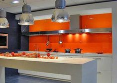 Bold Orange Color Accents Bright And Modern Interior - Orange Color Accents Make Modern Interior Design Ideas Feel Warm And Energetic Adding A Splash Of Cheerful And Optimistic Color To Rooms Bright Orange Color Shades Are Very Powerful And Dynamic And # Orange Kitchen, Kitchen Colors, Kitchen Decor, Kitchen Ideas, Funky Kitchen, Modern Kitchen Design, Modern Interior Design, Interior Styling, Kitchen Contemporary